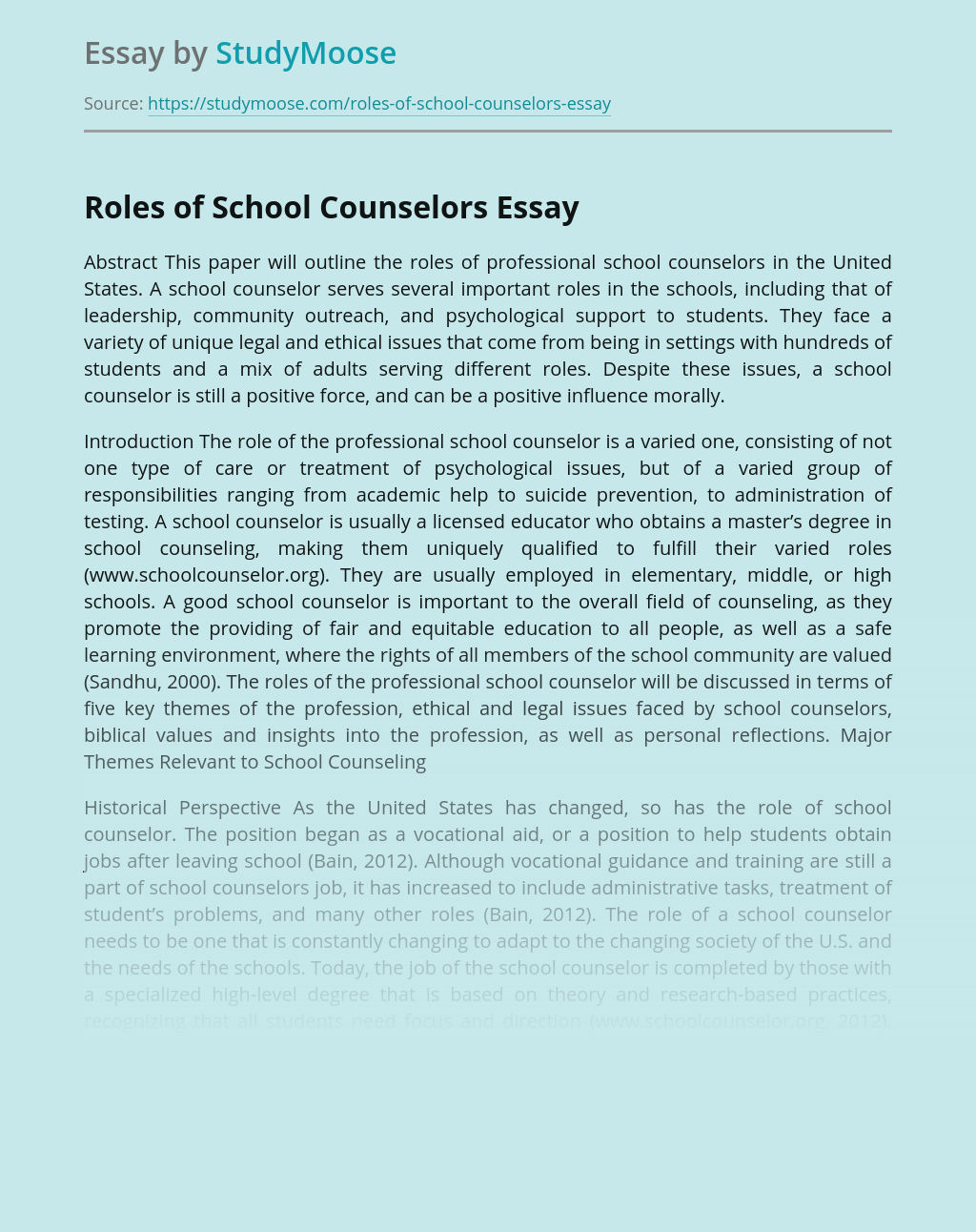 Roles of School Counselors