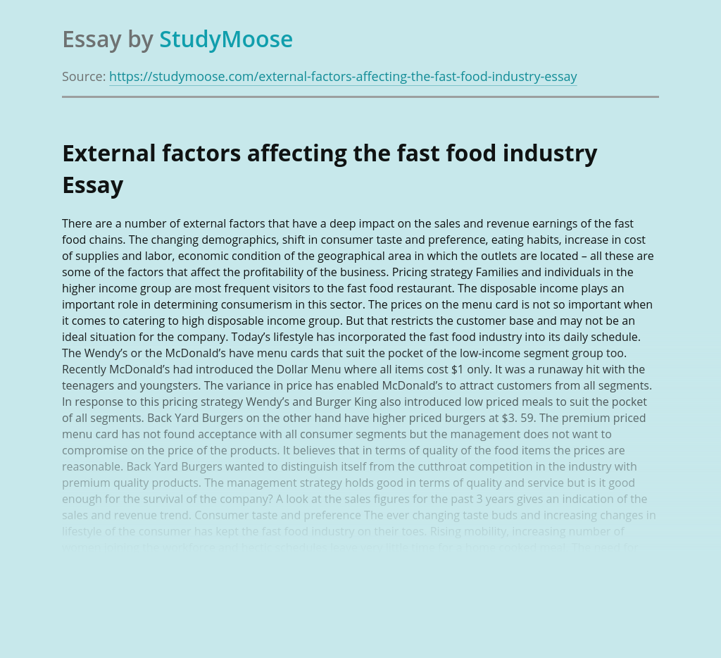 External factors affecting the fast food industry