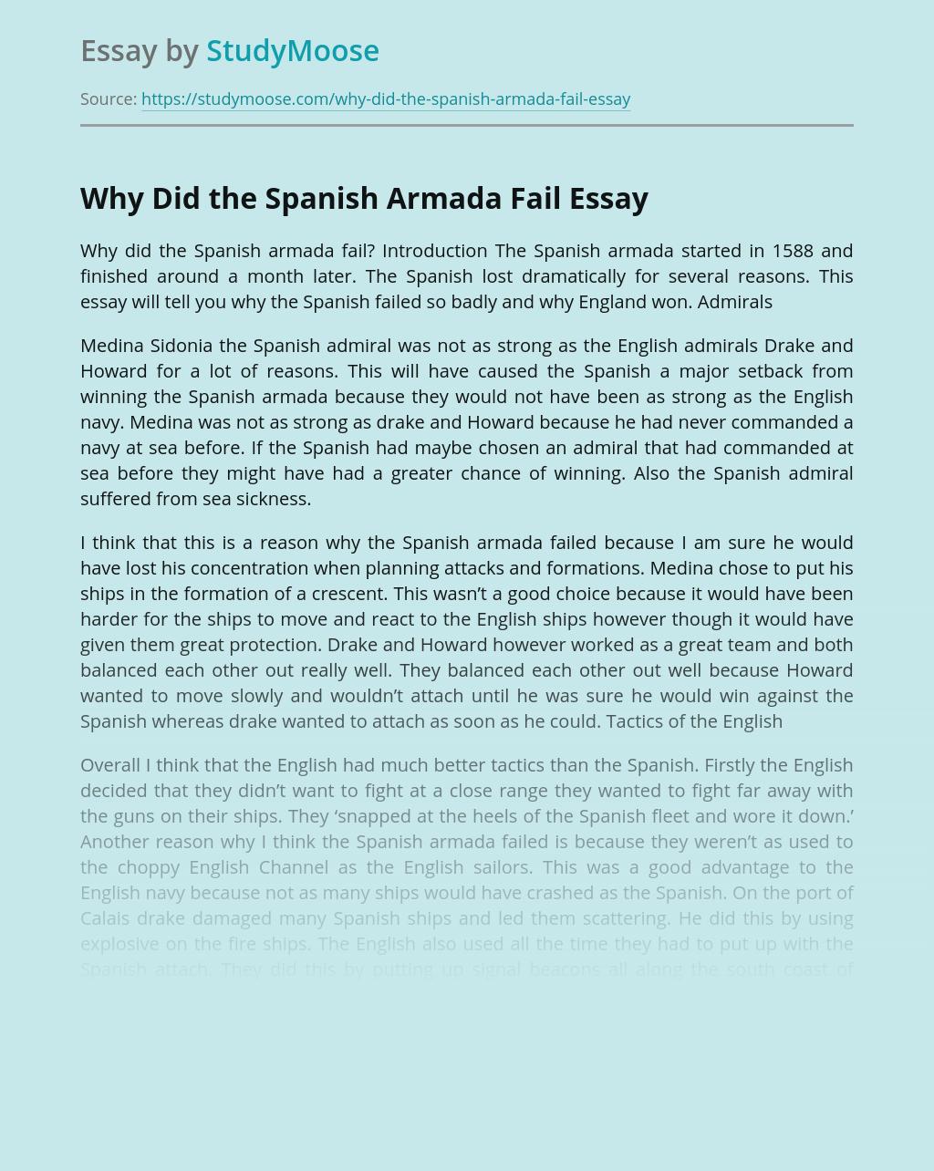 History About Fail of Spanish Armada