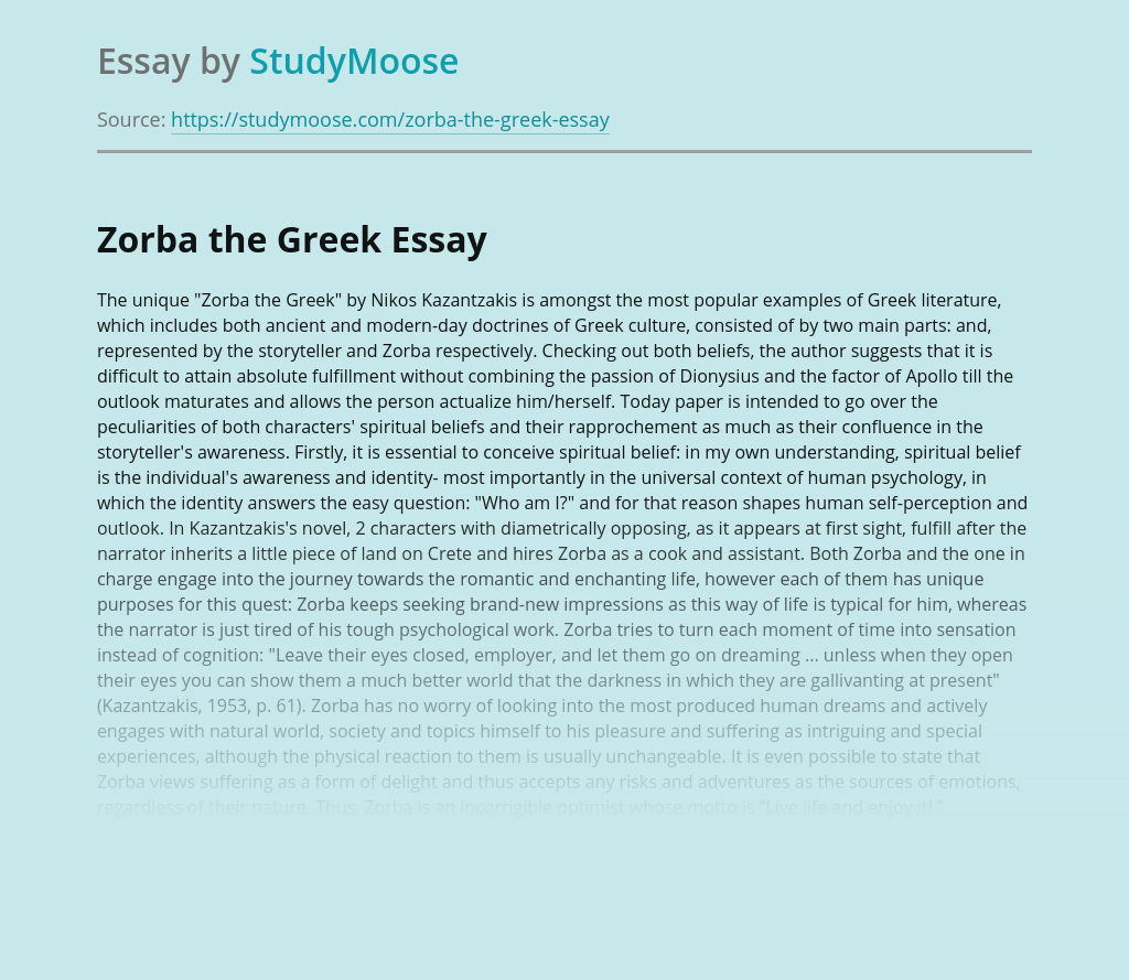 Theme of Life Experiences in Zorba the Greek