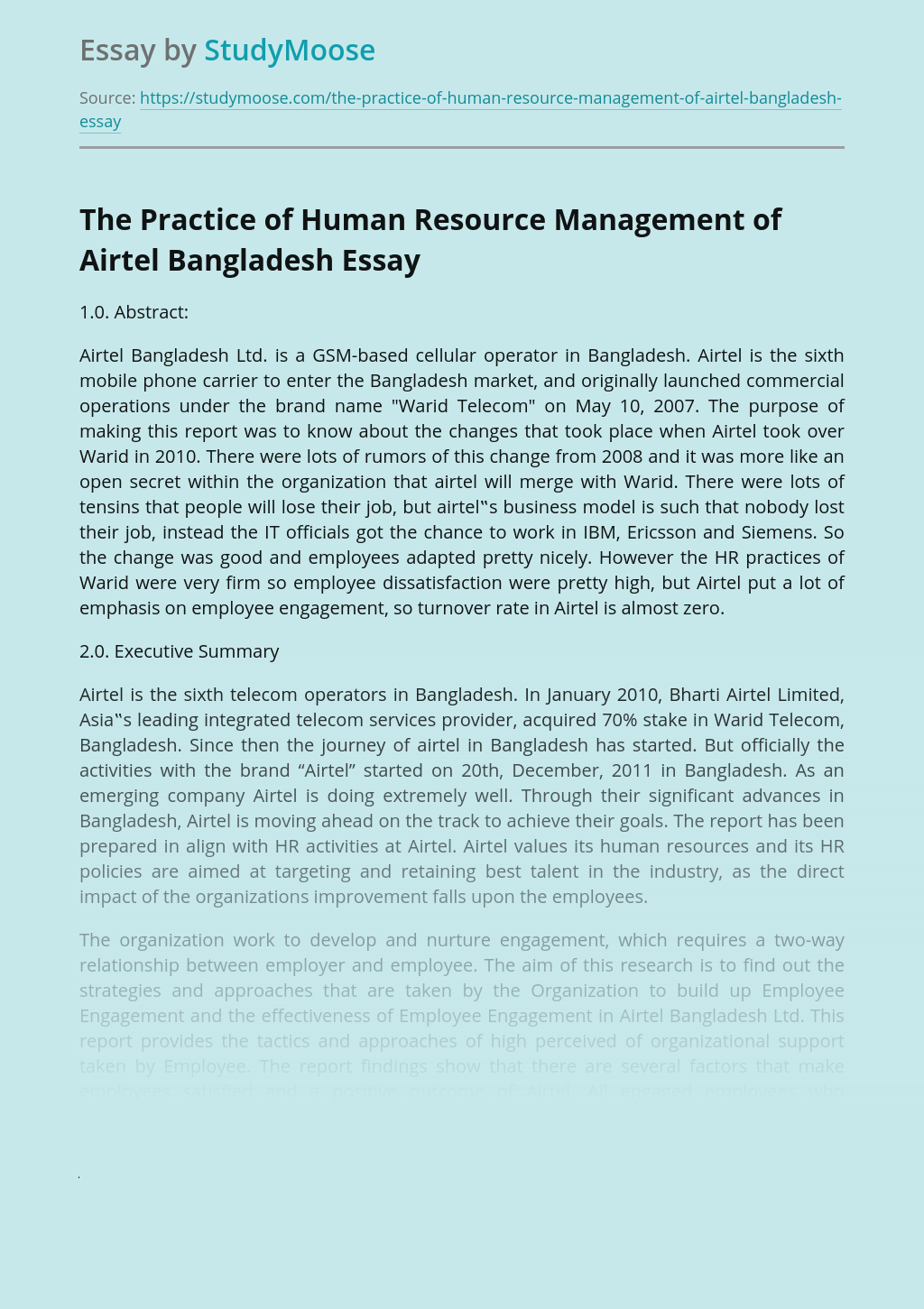 The Practice of Human Resource Management of Airtel Bangladesh