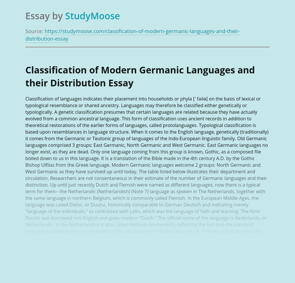 Classification of Modern Germanic Languages and their Distribution