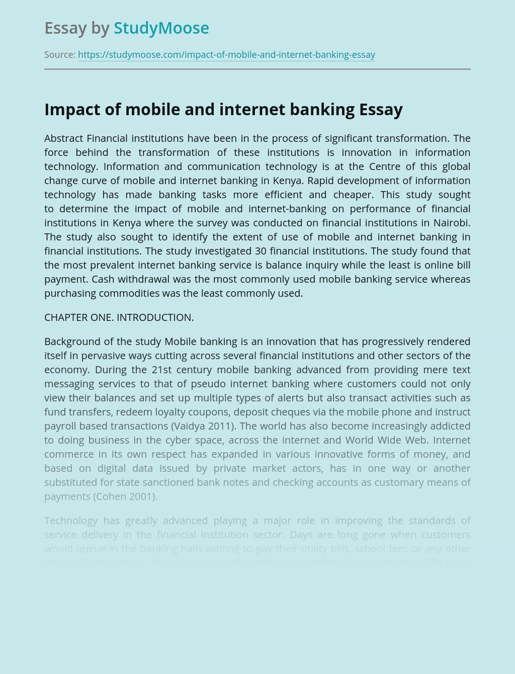 Impact of mobile and internet banking