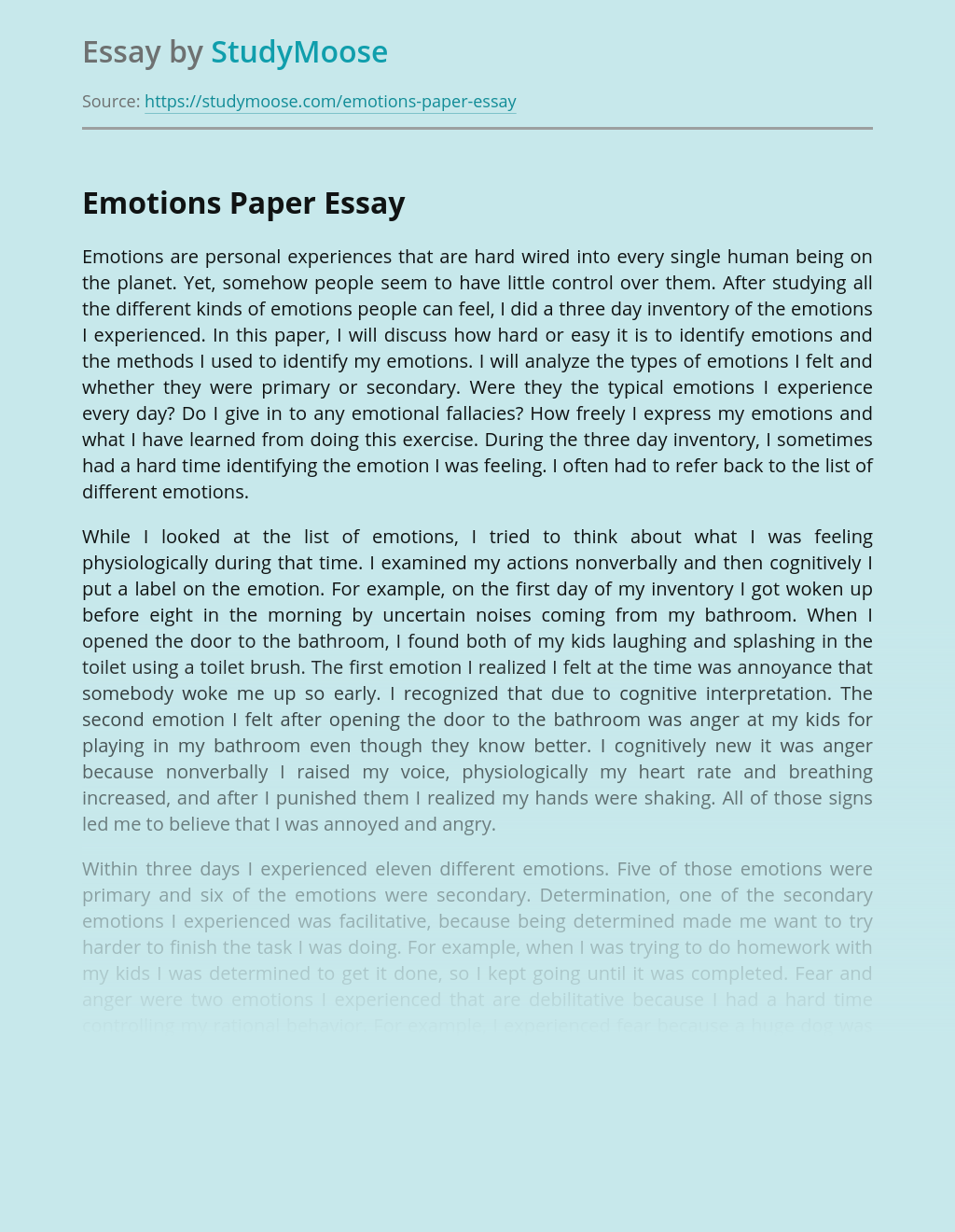 Emotions Paper