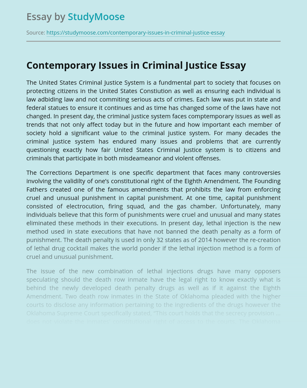 Contemporary Issues in Criminal Justice