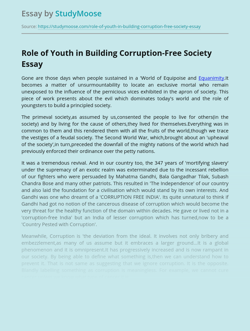 Role of Youth in Building Corruption-Free Society