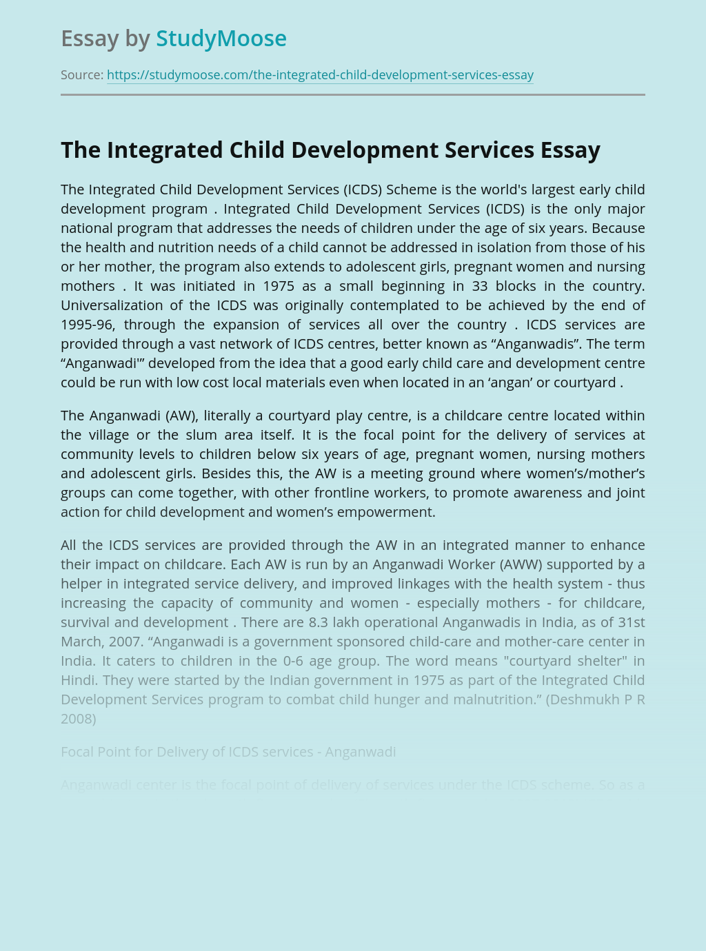 The Integrated Child Development Services