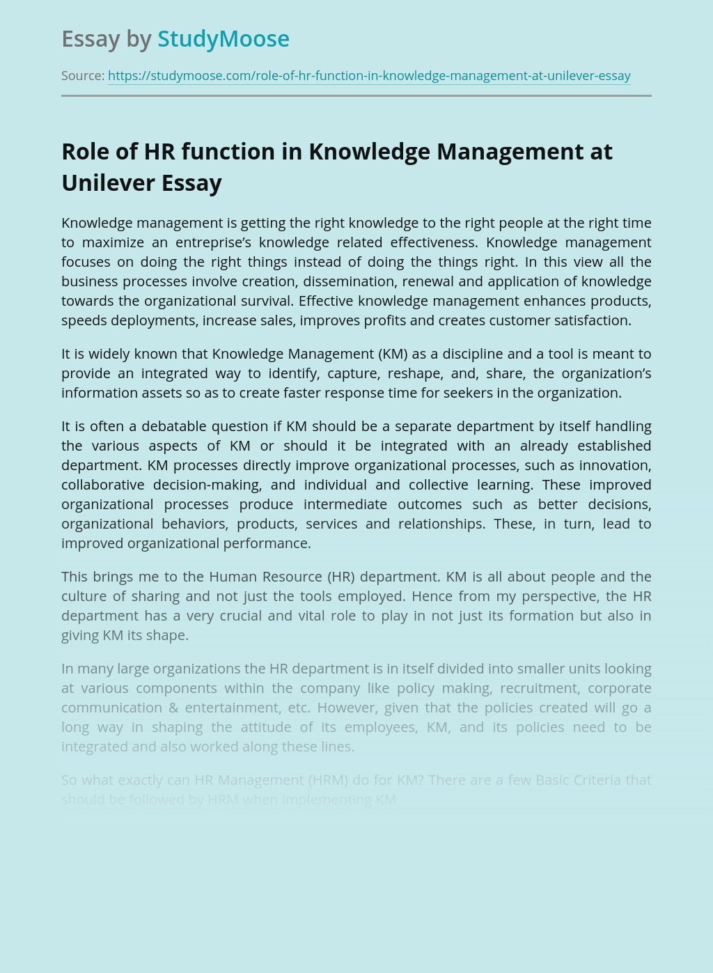 Role of HR function in Knowledge Management at Unilever