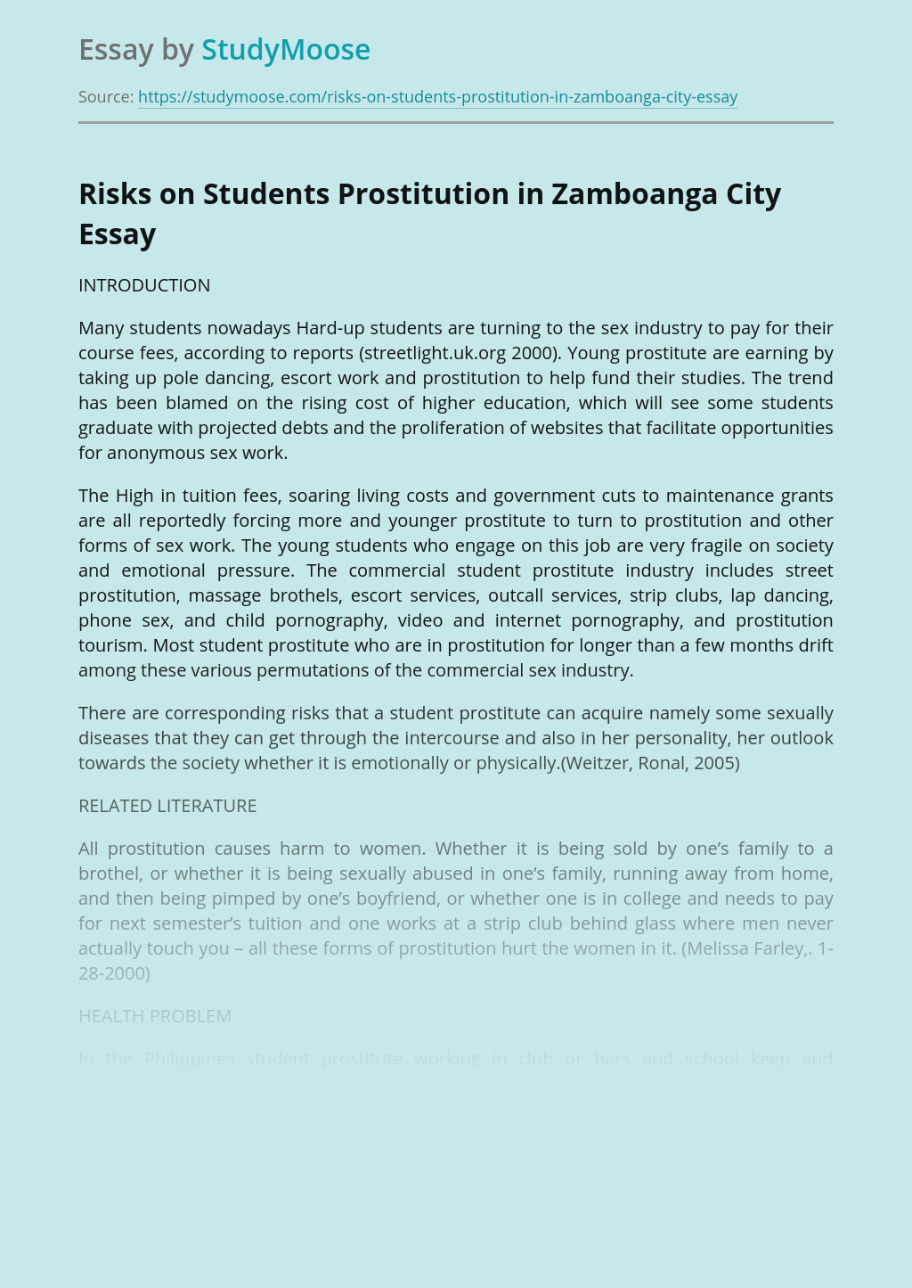 Risks on Students Prostitution in Zamboanga City
