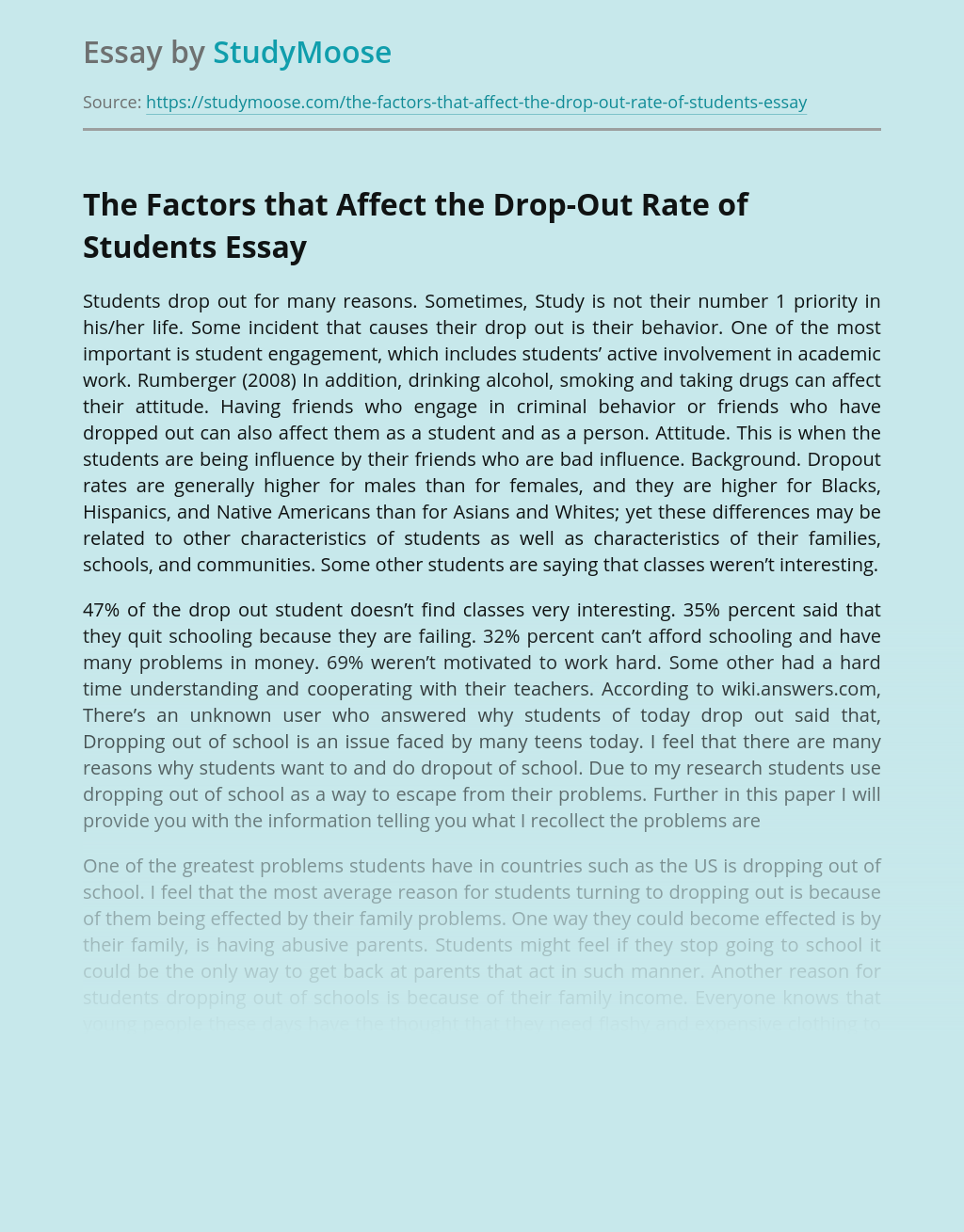 Factors that Affect Drop-Out Rate in Education