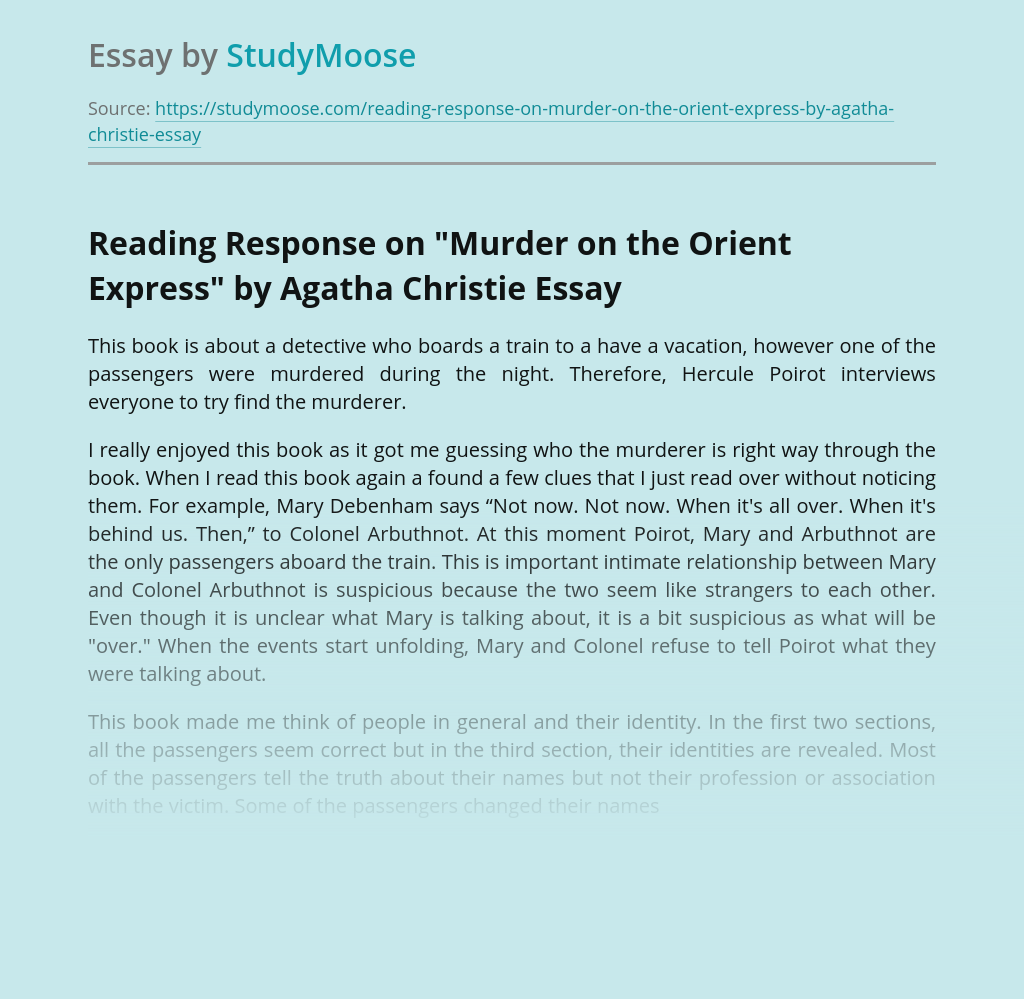 """Reading Response on """"Murder on the Orient Express"""" by Agatha Christie"""