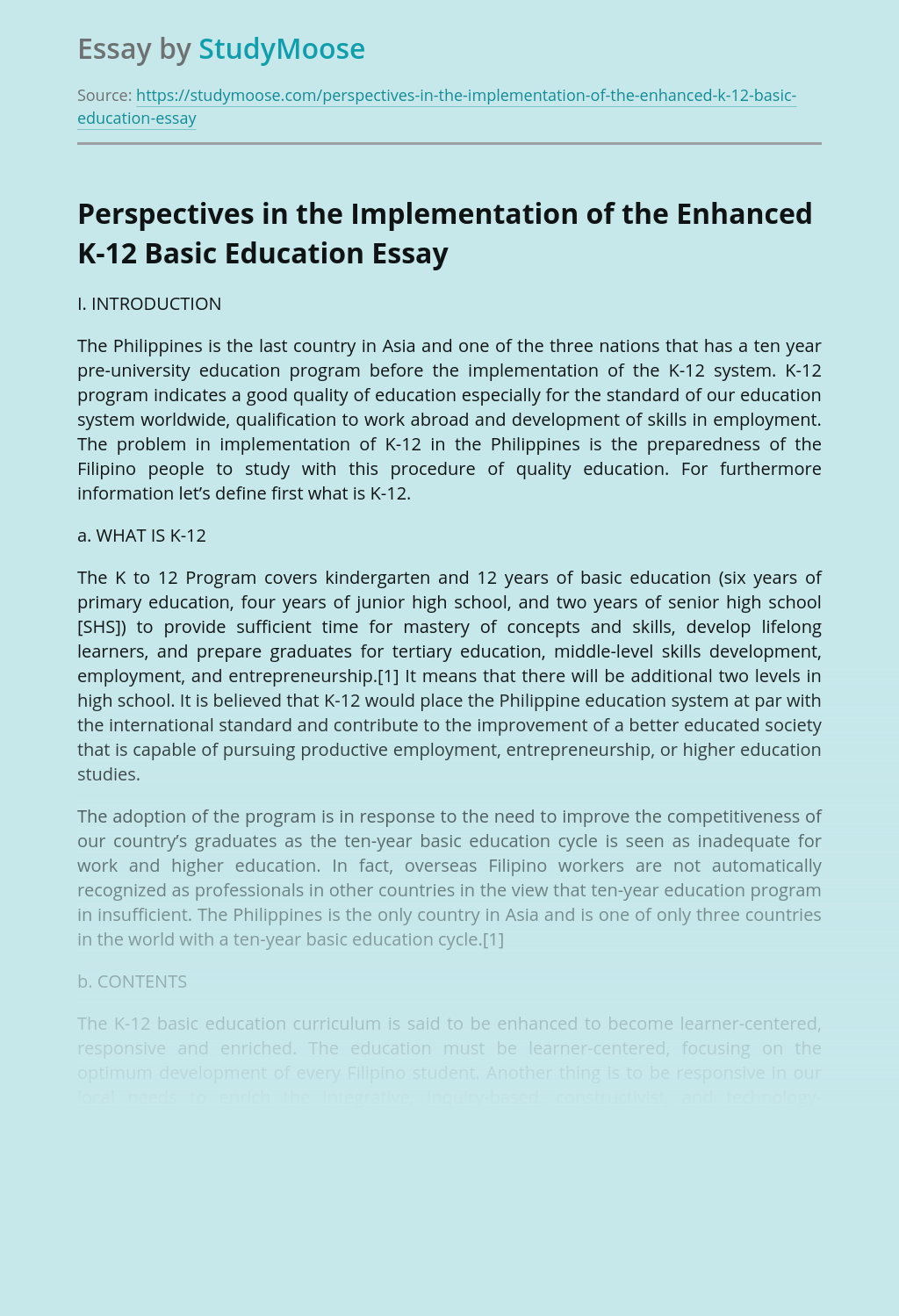 Perspectives in the Implementation of the Enhanced K-12 Basic Education