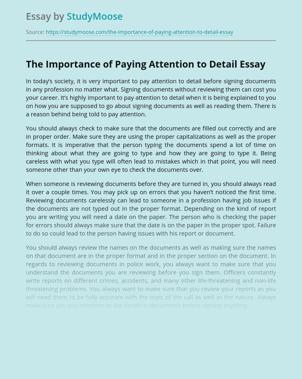 Pay attention essay