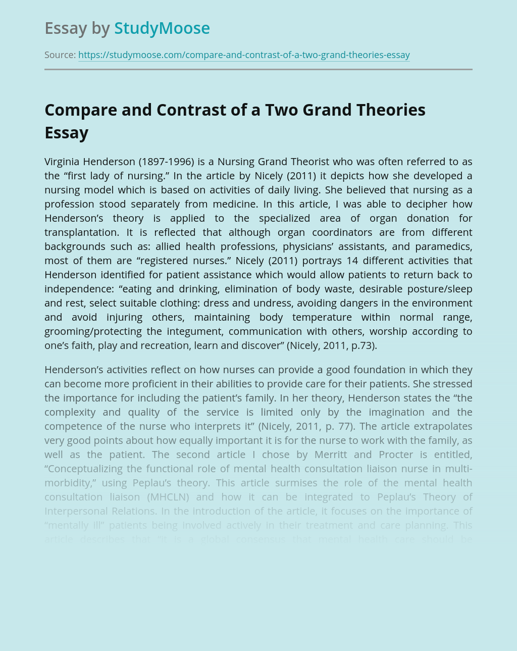 Compare and Contrast of a Two Grand Theories