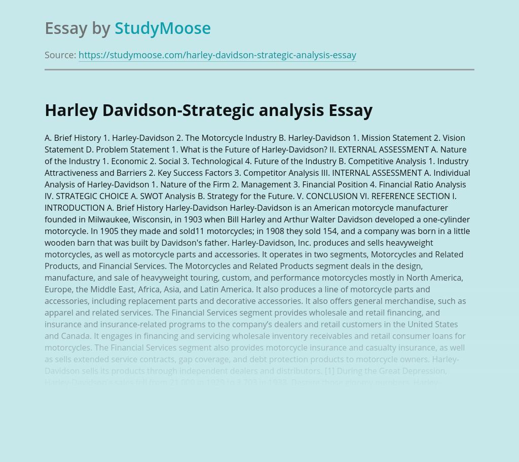 Harley Davidson-Strategic analysis