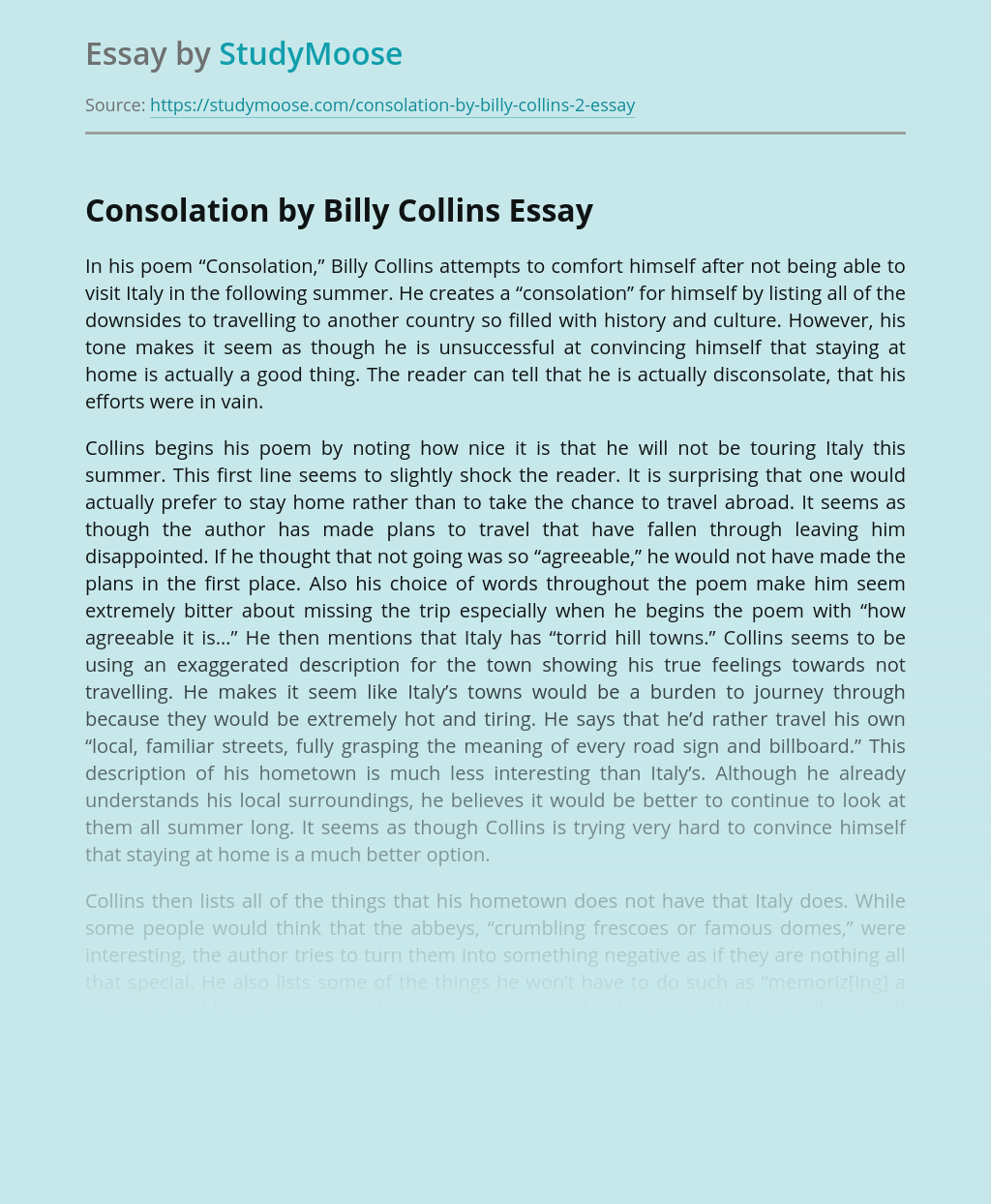 Consolation by Billy Collins Poem Analysis