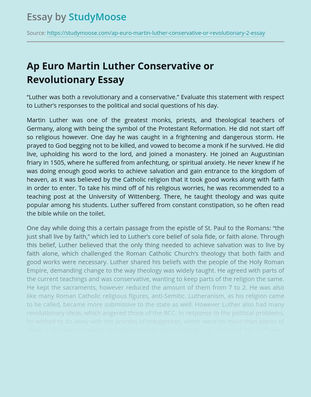 Martin Luther Conservative or Revolutionary