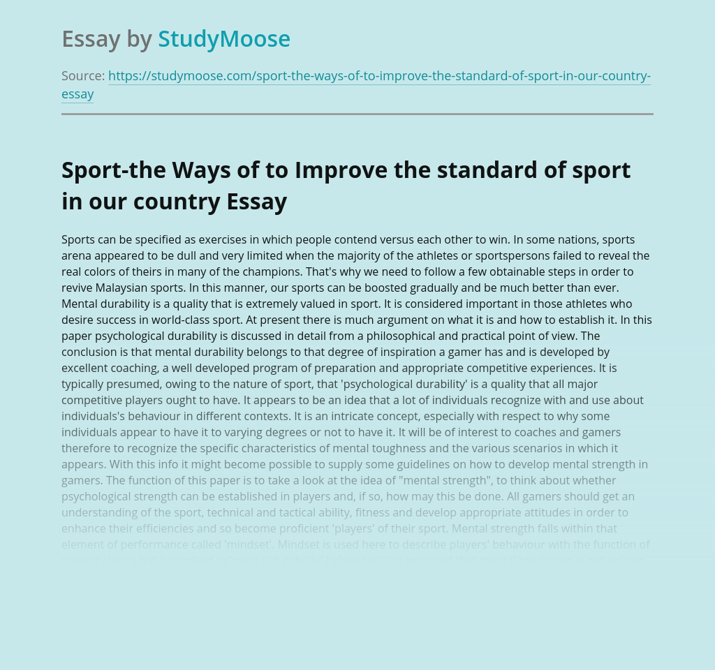 Sport-the Ways of to Improve the standard of sport in our country