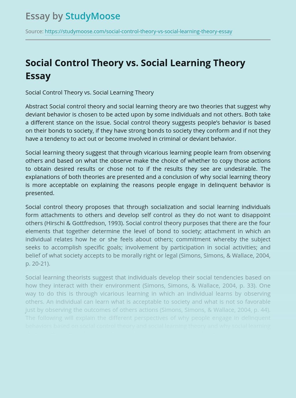 Social Control Theory vs. Social Learning Theory