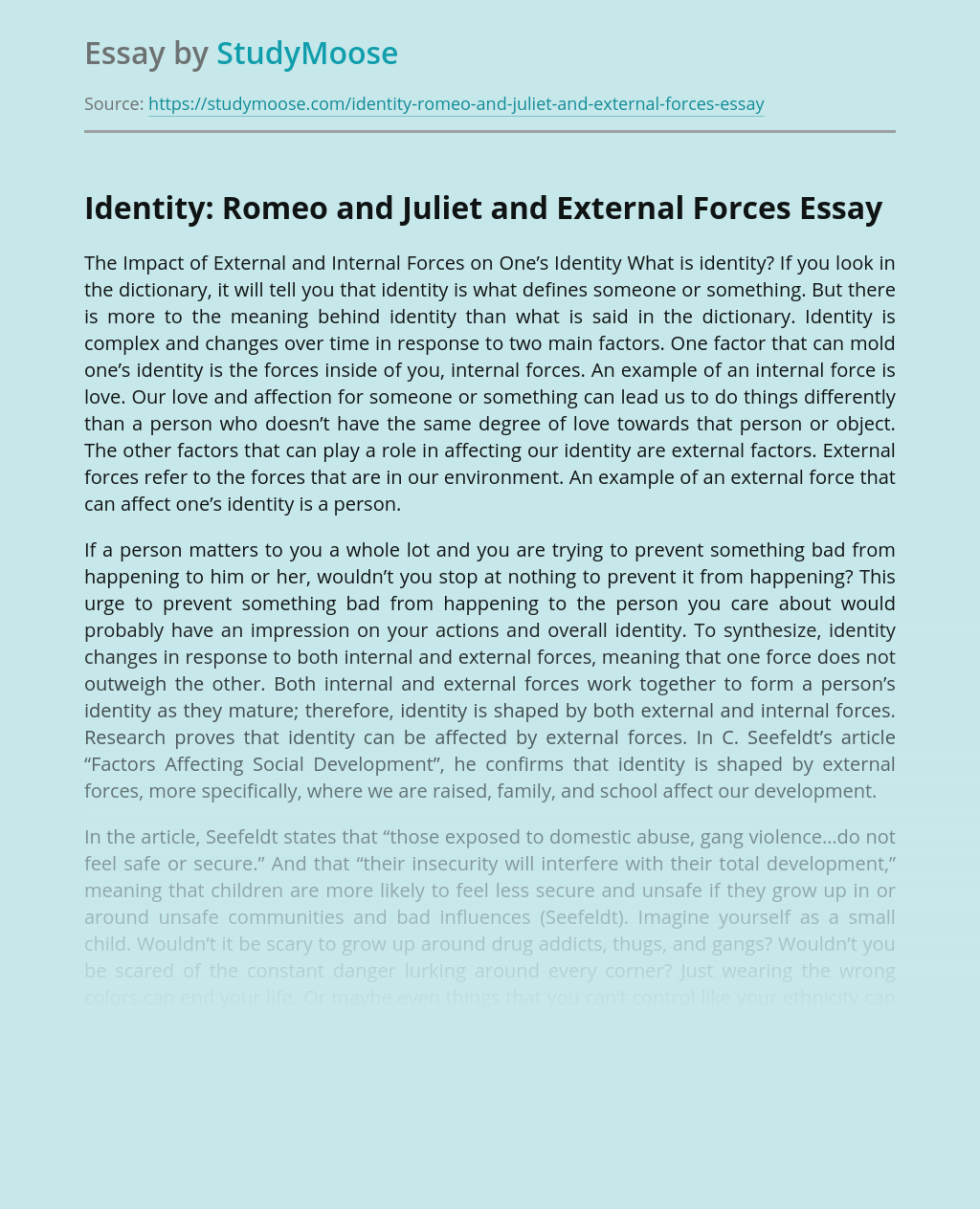 Identity: Romeo and Juliet and External Forces