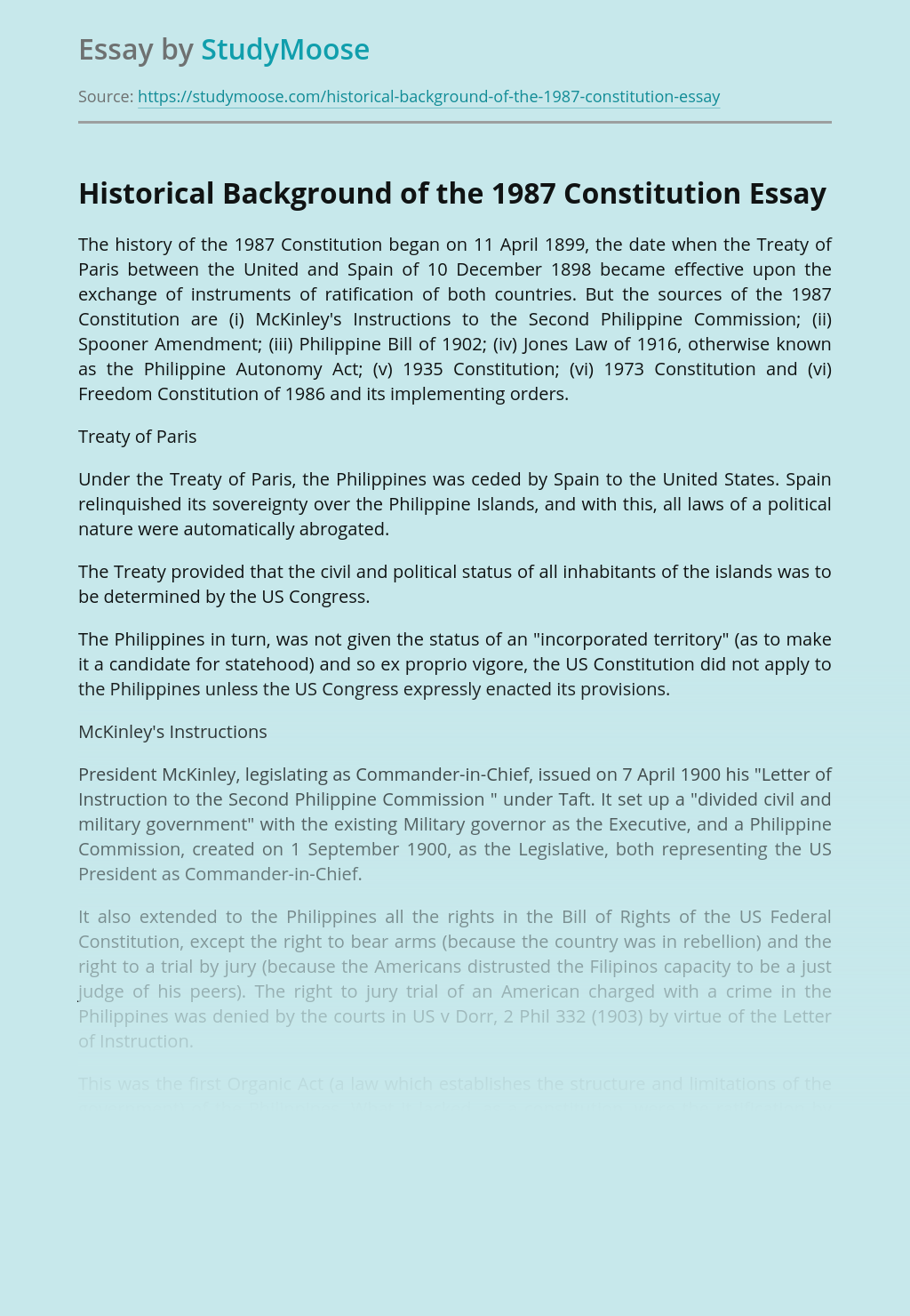 Historical Background of the 1987 Constitution