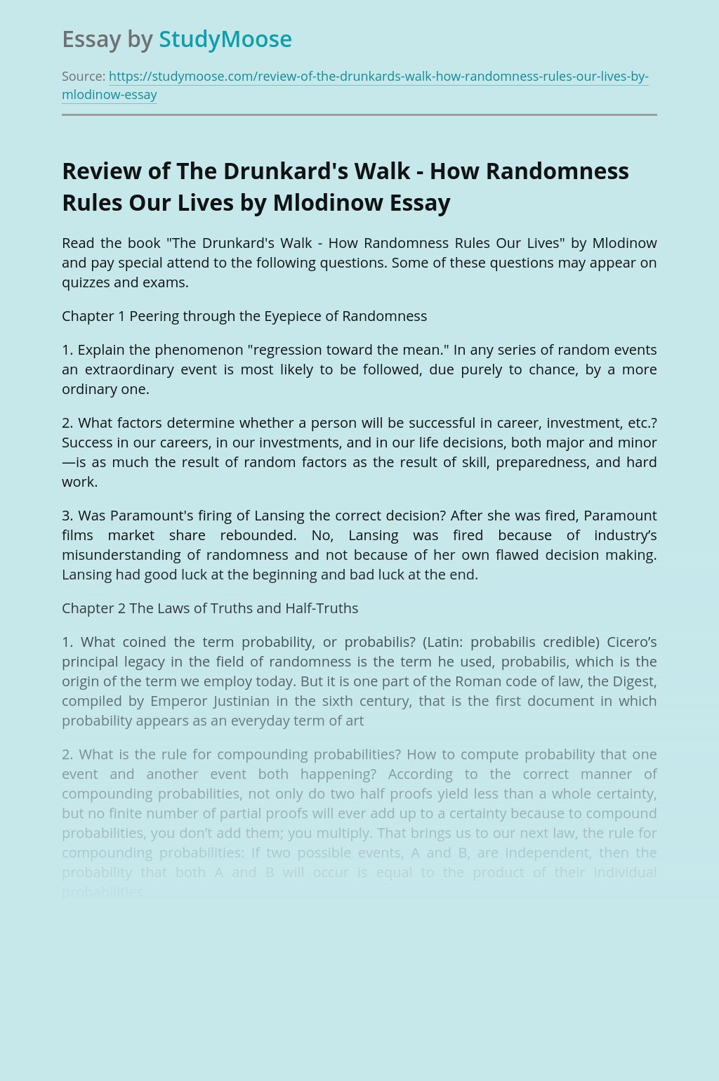 Review of The Drunkard's Walk - How Randomness Rules Our Lives by Mlodinow
