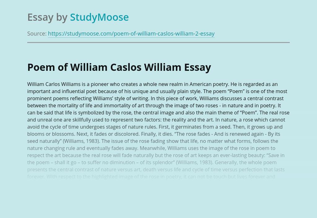 Poem of William Caslos William