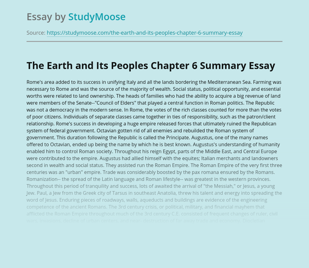 The Earth and Its Peoples Chapter 6 Summary