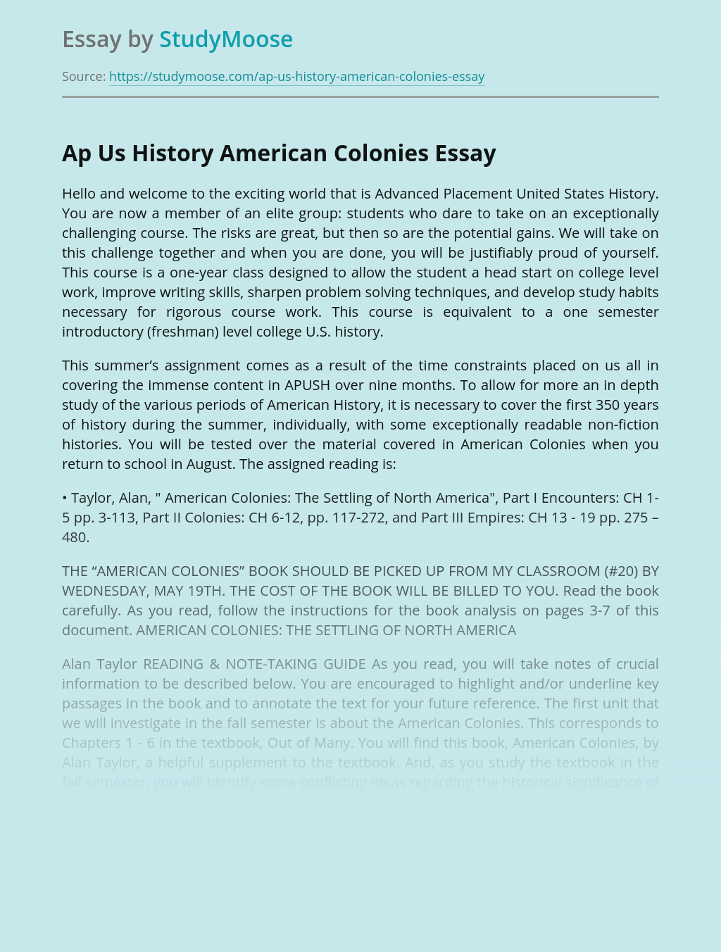 Advanced Placement US History American Colonies