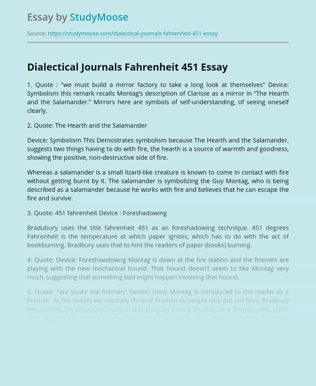 Dialectical Journals Fahrenheit 451