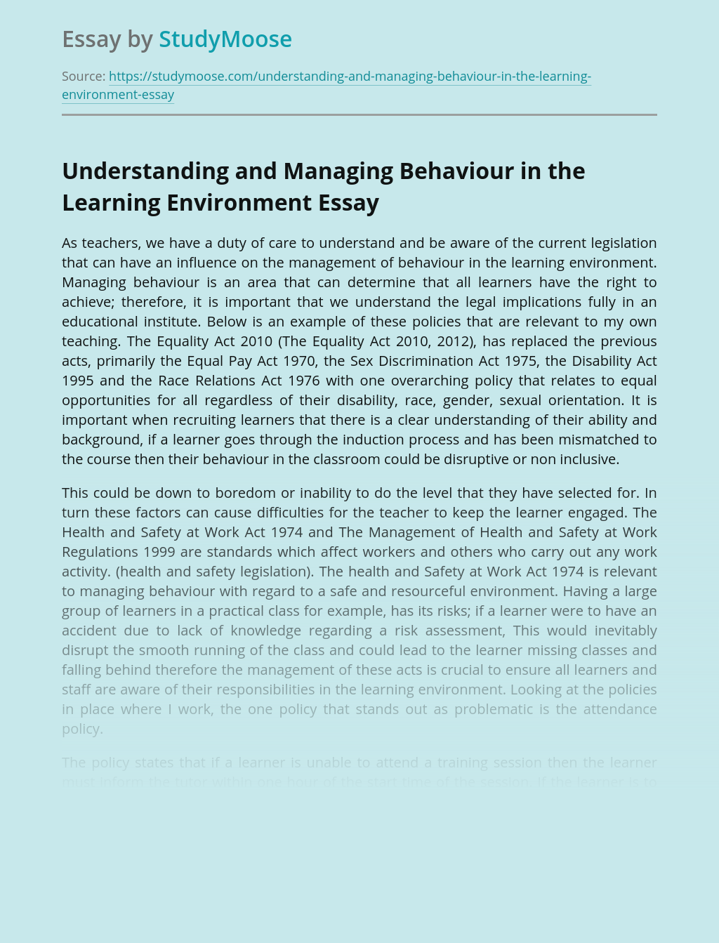 Understanding and Managing Behaviour in the Learning Environment
