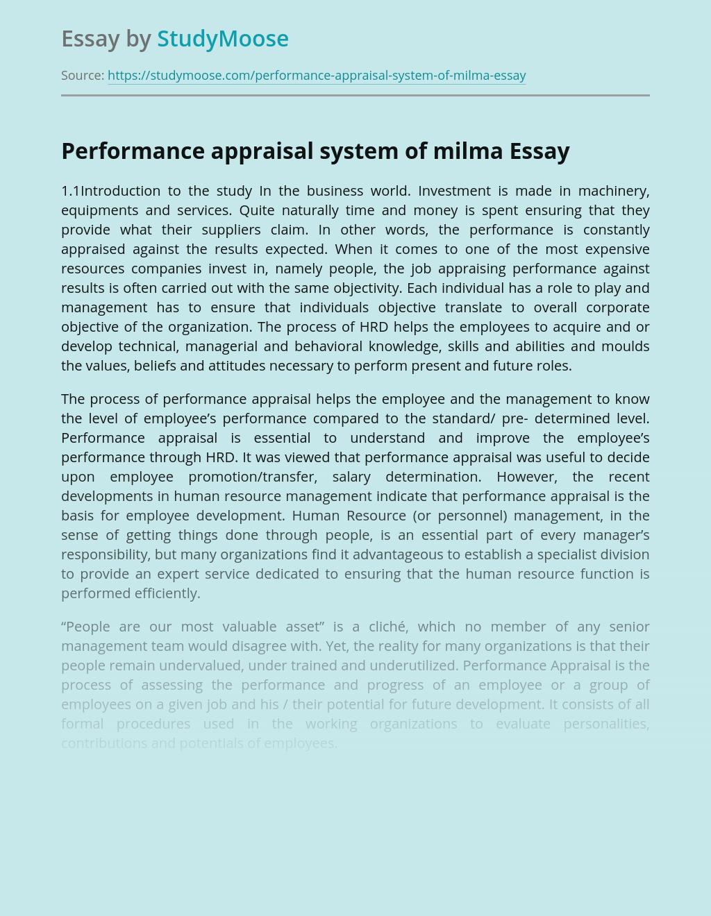 Performance Appraisal System of Milma