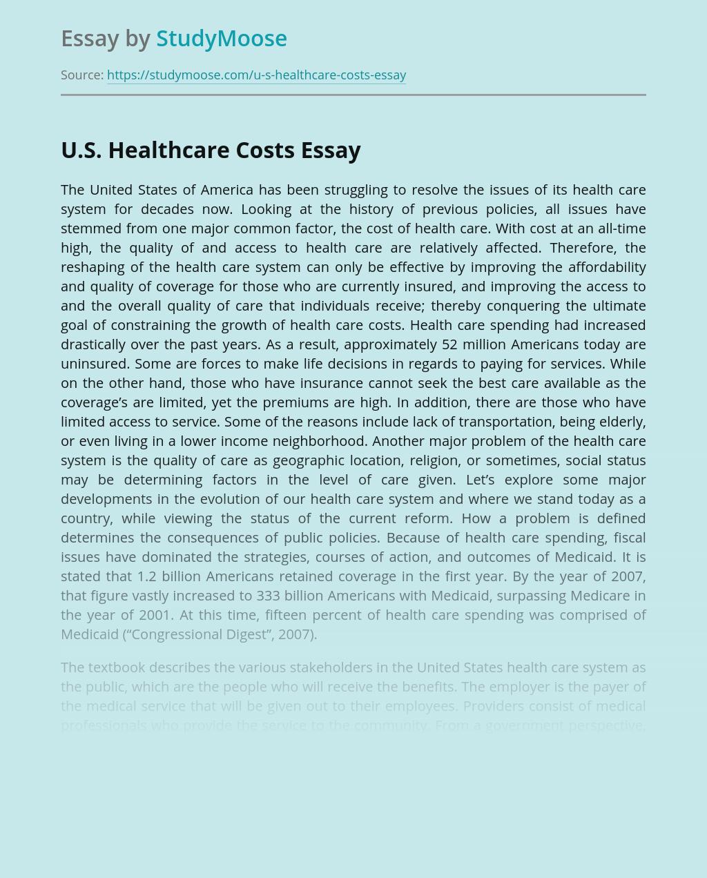 U.S. Healthcare Costs