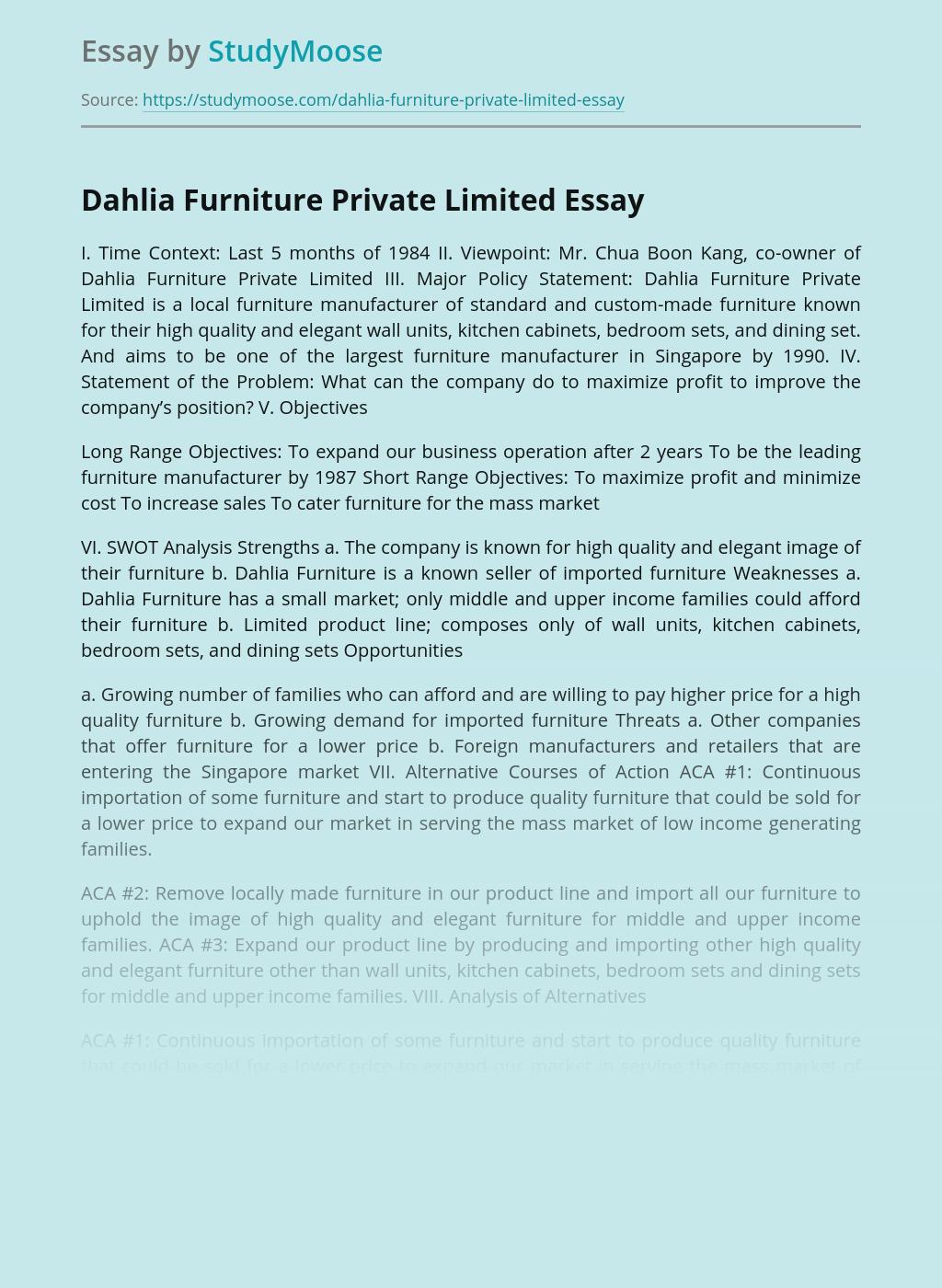 Dahlia Furniture Private Limited