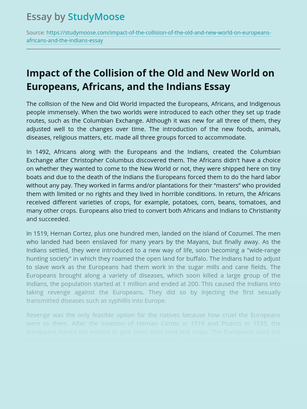 Impact of the Collision of the Old and New World on Europeans, Africans, and the Indians