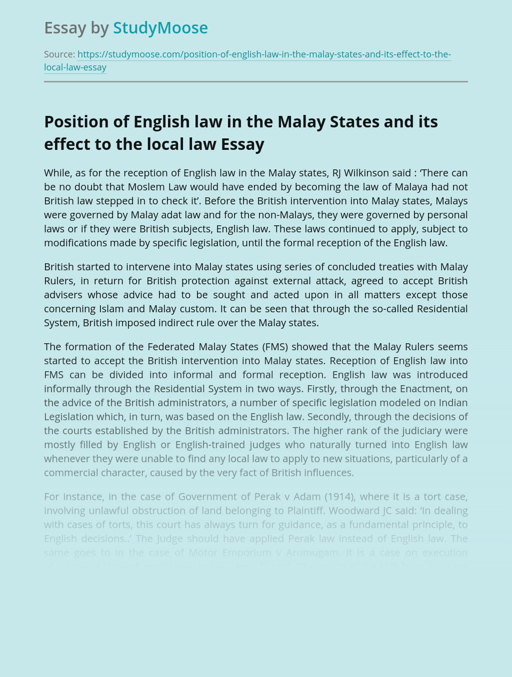 Position of English law in the Malay States and its effect to the local law