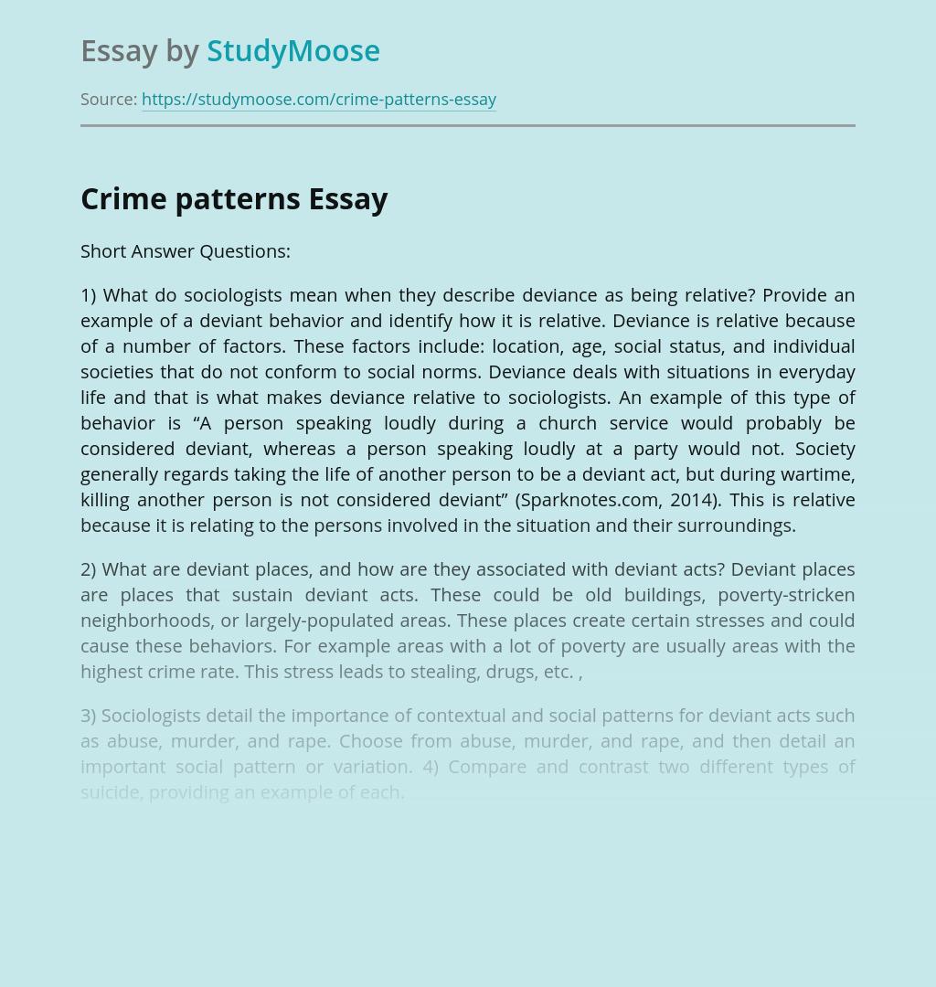 Crime patterns