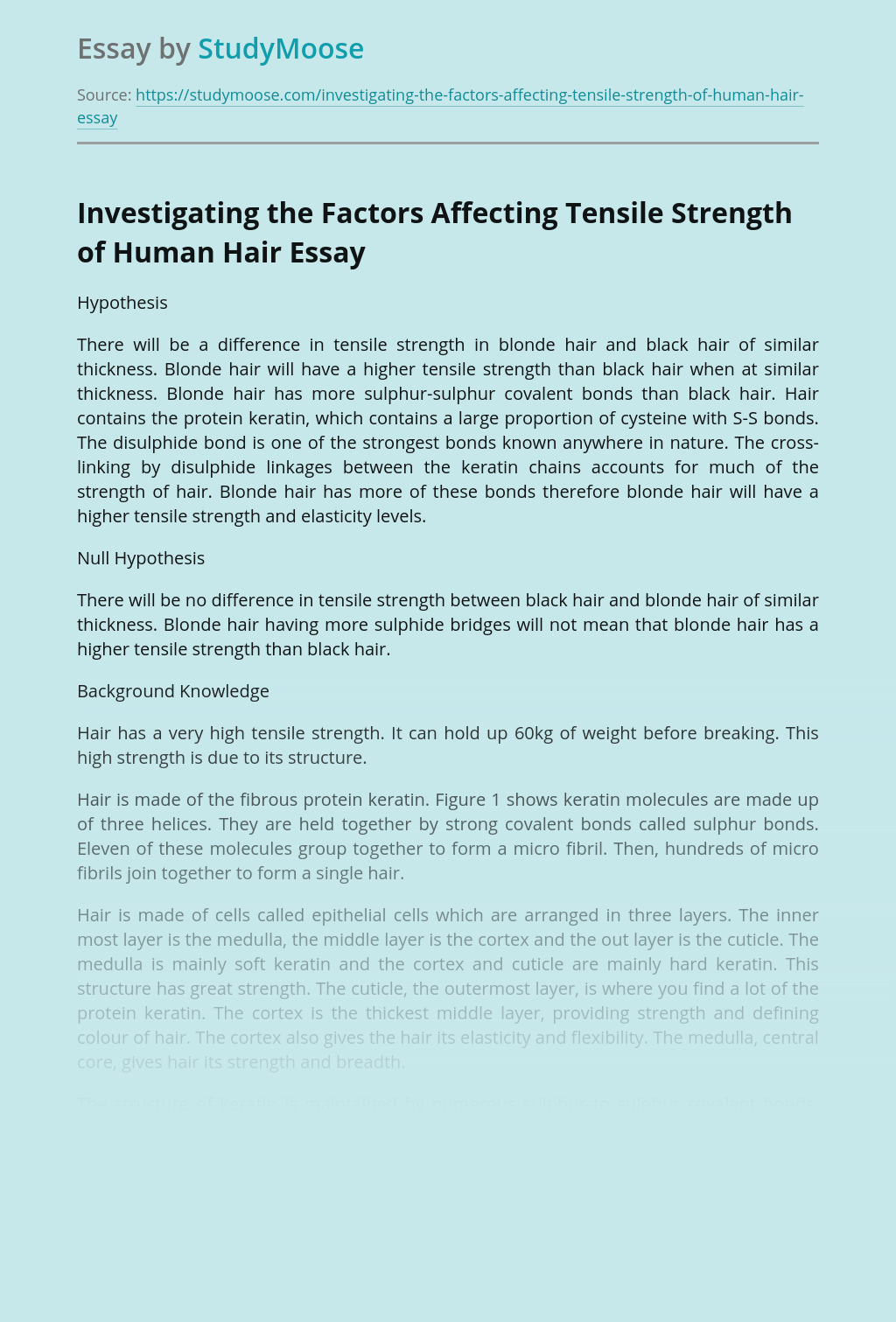 Investigating the Factors Affecting Tensile Strength of Human Hair