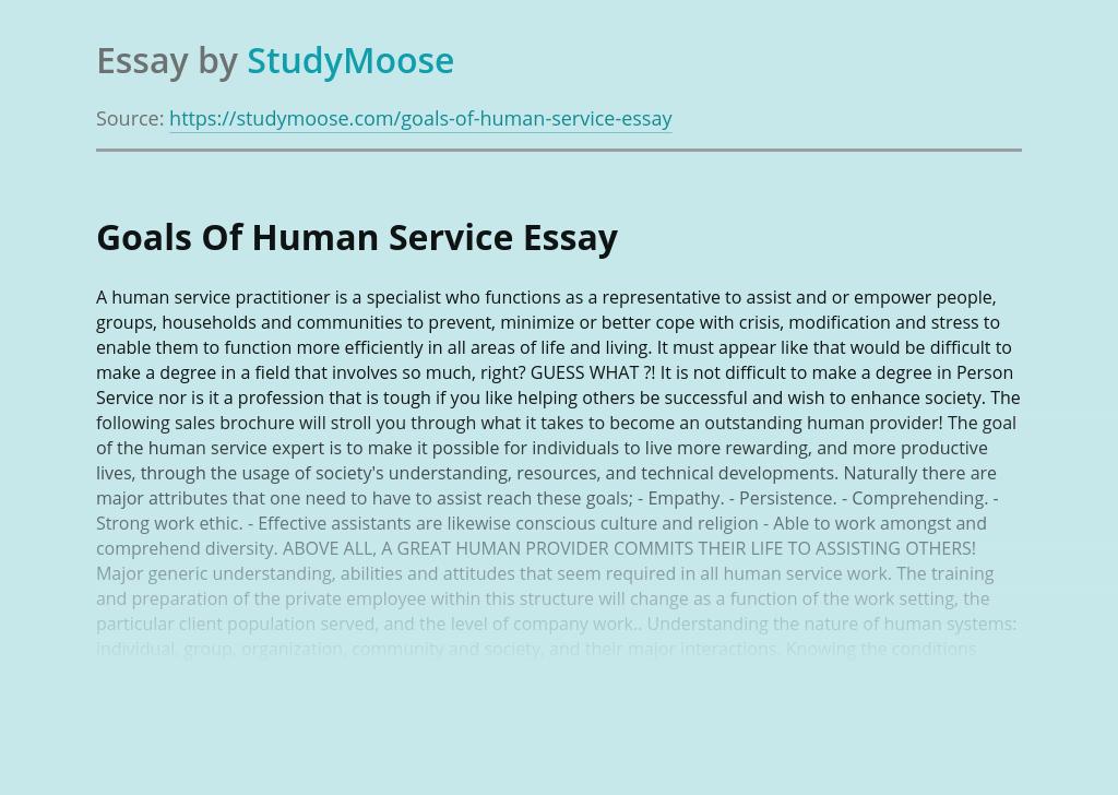 Goals Of Human Service