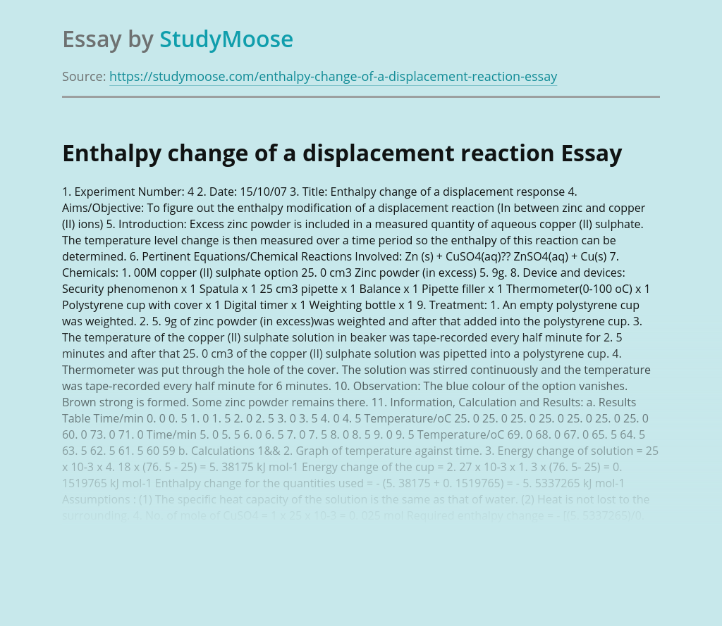 Enthalpy change of a displacement reaction