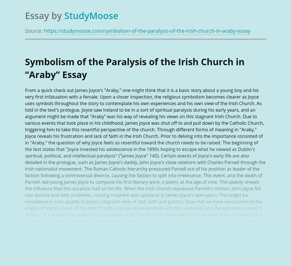 """Symbolism of the Paralysis of the Irish Church in """"Araby"""""""