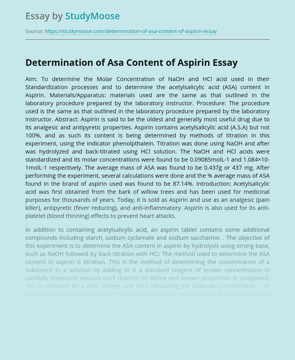 Determination of Asa Content of Aspirin