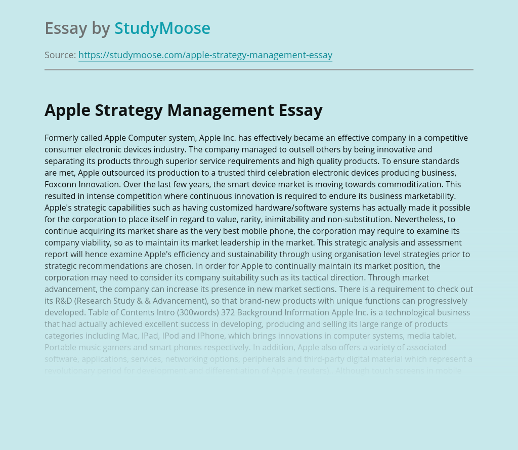Apple Strategy Management