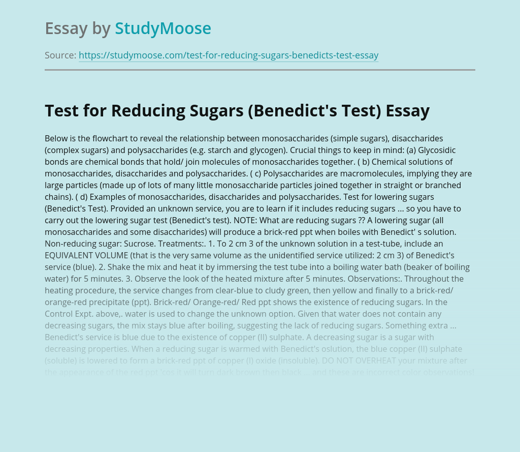 Test for Reducing Sugars (Benedict's Test)