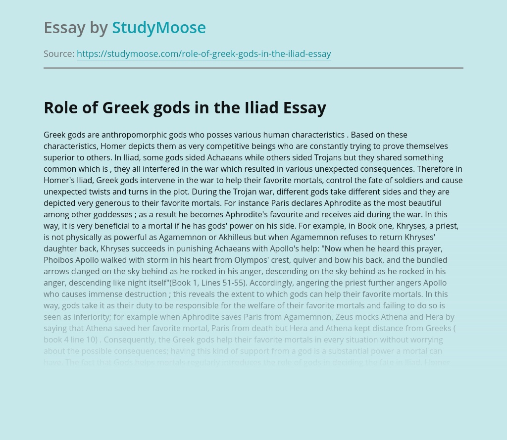 Role of Greek gods in the Iliad