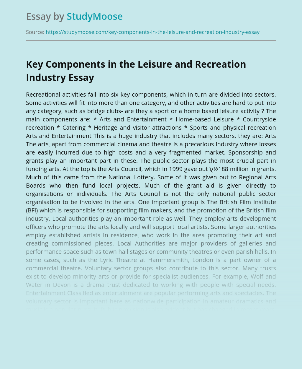 Key Components in the Leisure and Recreation Industry