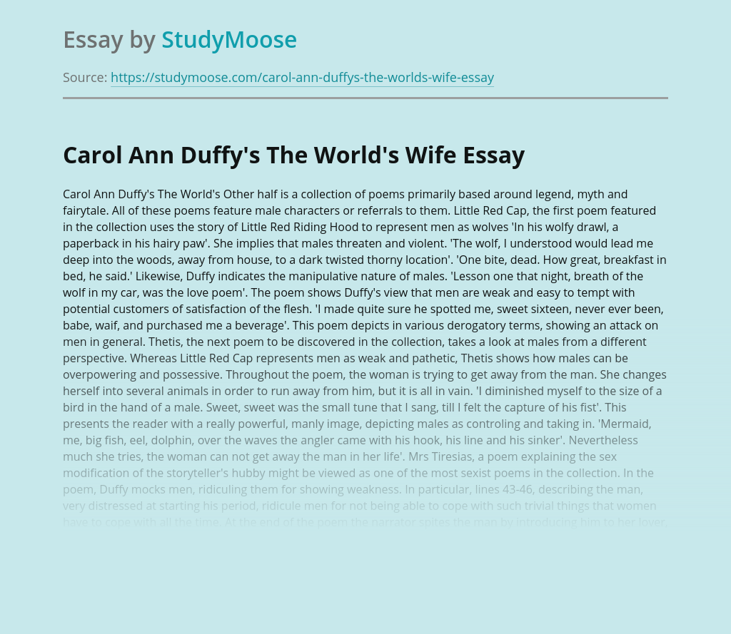 Carol Ann Duffy's The World's Wife