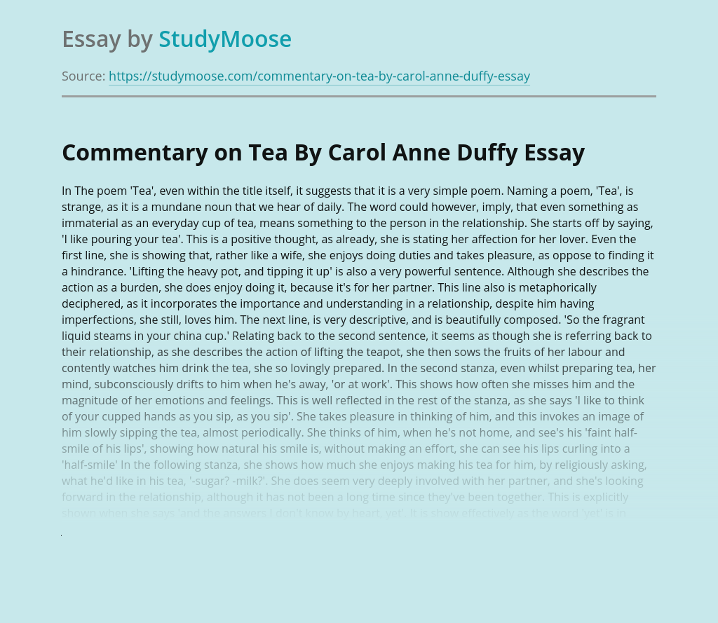 Commentary on Tea By Carol Anne Duffy