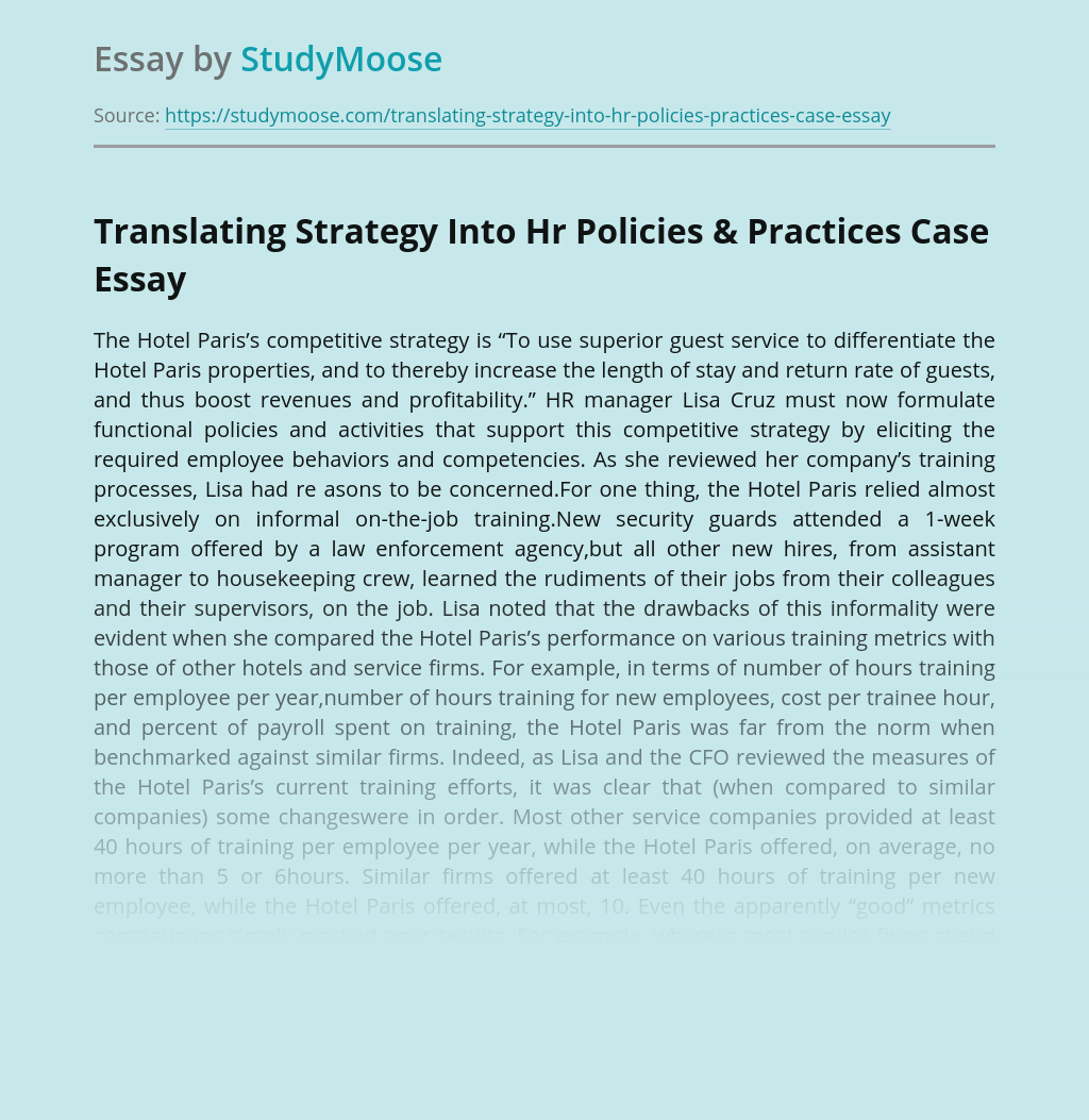 Translating Strategy Into Hr Policies & Practices Case