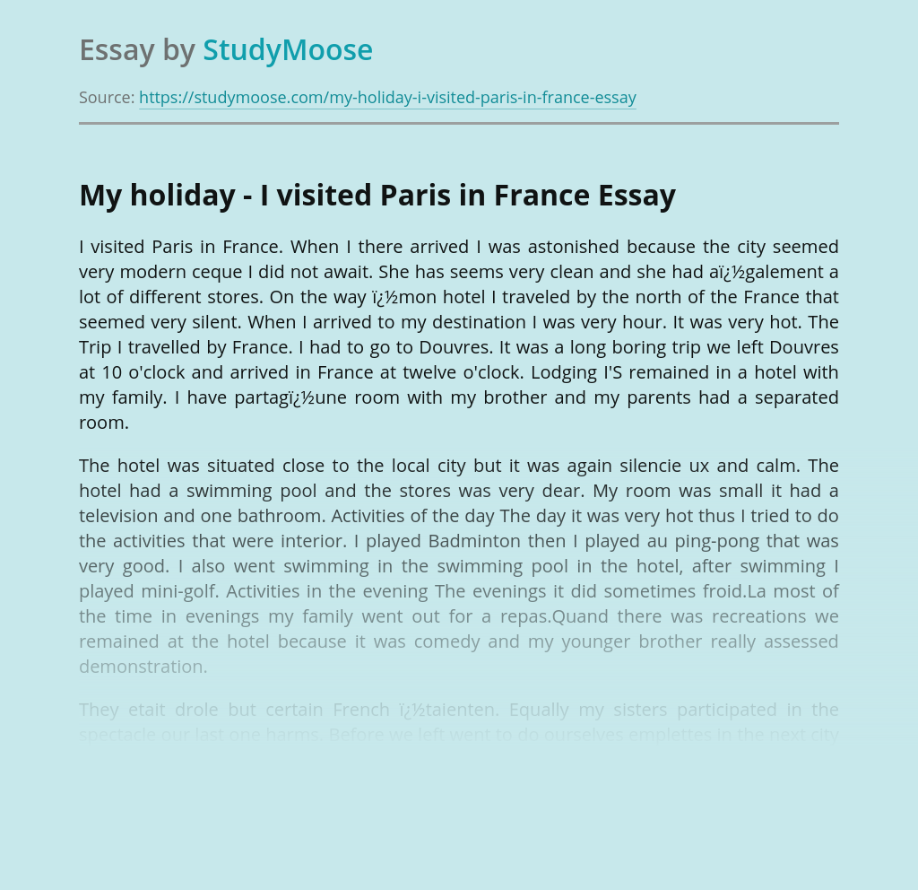 My holiday - I visited Paris in France